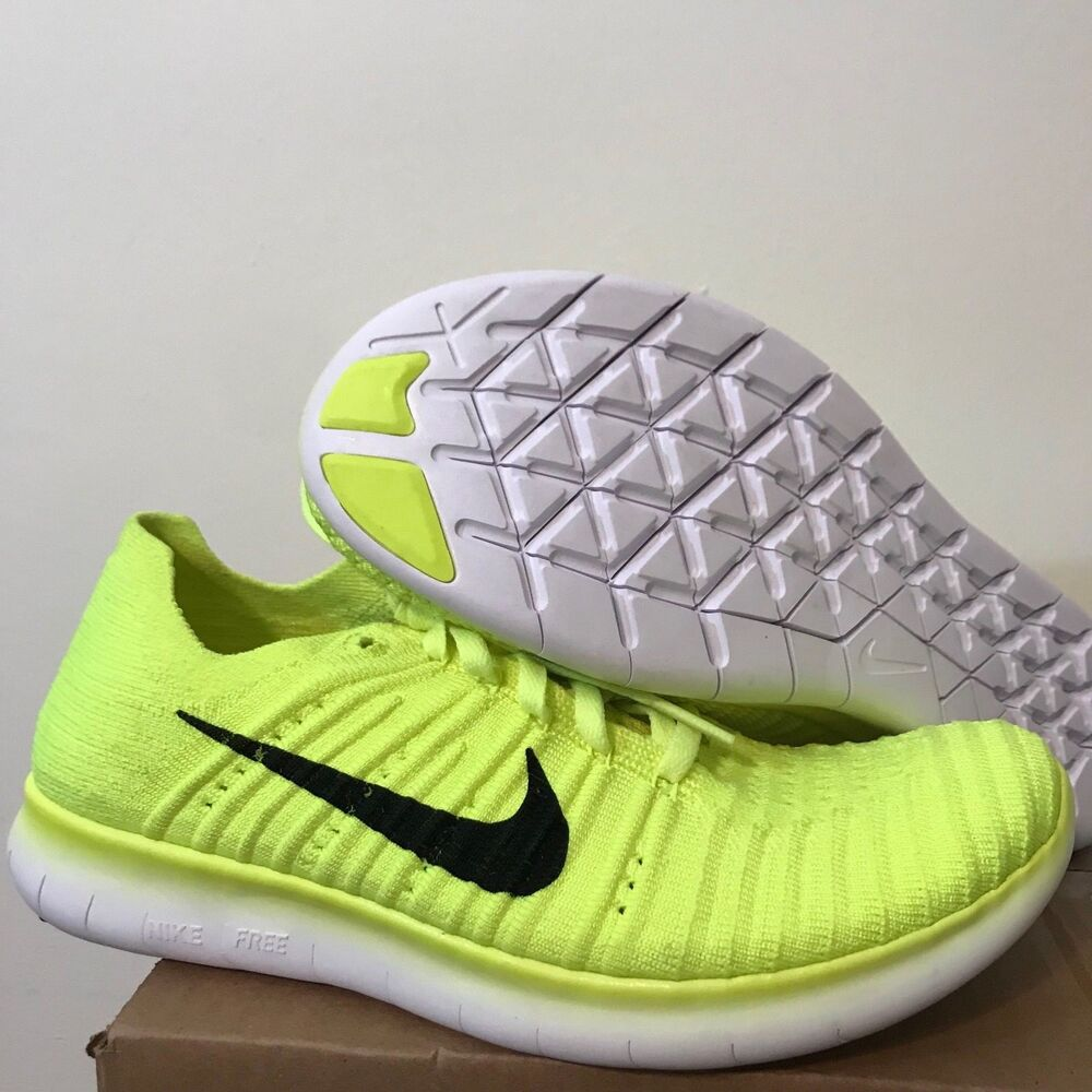 newest 1c944 445bb Details about Nike Free Run Flyknit GS Sz Volt Black White 834362-700