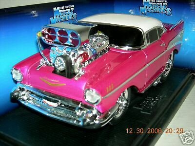 57 Chevy Bel Air Pink W White Top Muscle Machine 118 Ebay