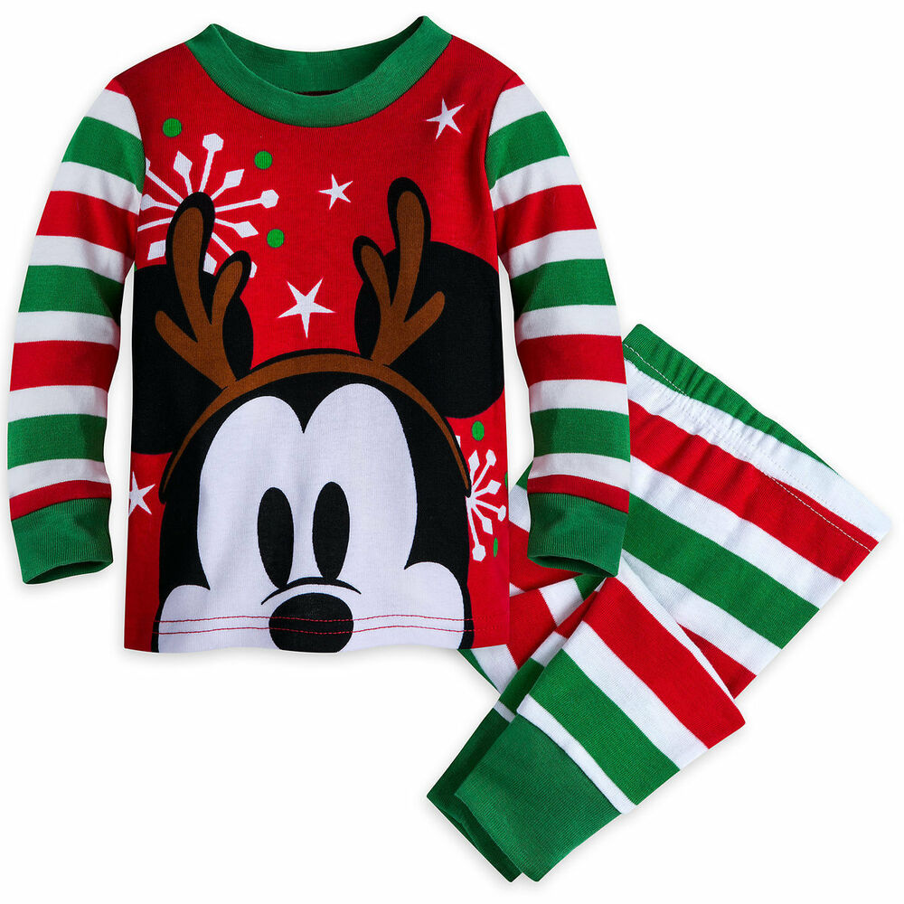 610a702d7 Disney Store Mickey Mouse Holiday Pajamas Baby Boys Size 0 3 6 9 12 ...