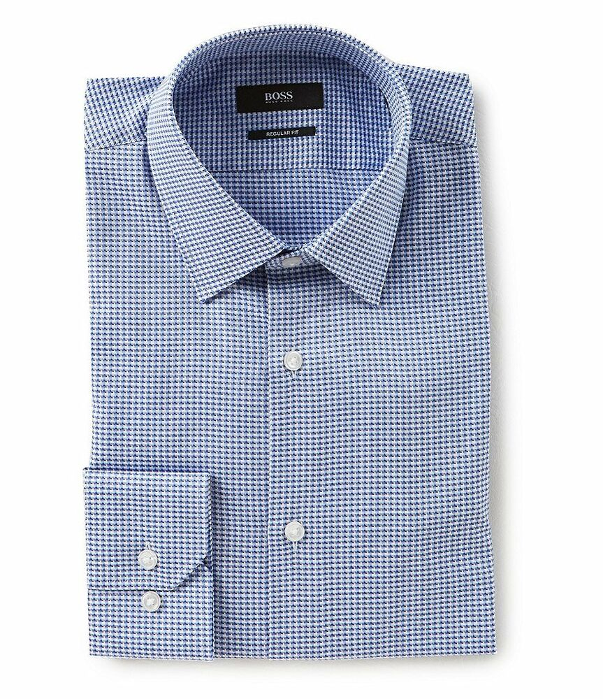 d694d869 Details about HUGO BOSS ENZO US BLACK LABEL DRESS SHIRT REGULAR FIT SPREAD  COLLAR BLUE -NWT