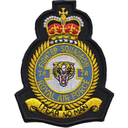 img-No. 74 (F) Squadron Royal Air Force RAF Crest MOD Embroidered Patch