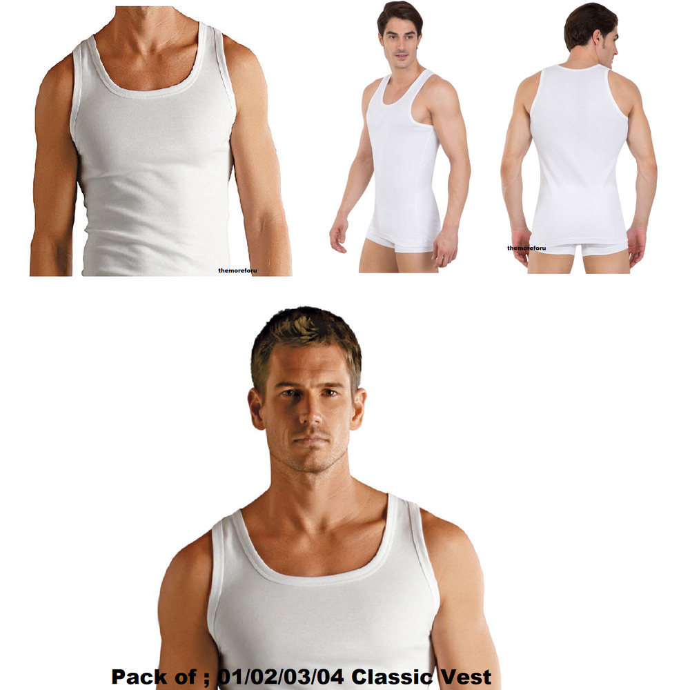 3a29a26d3b5d83 Details about Jockey Mens Classic Vest Sleeveless Undershirt White Multi  Pack Cotton Tank Top