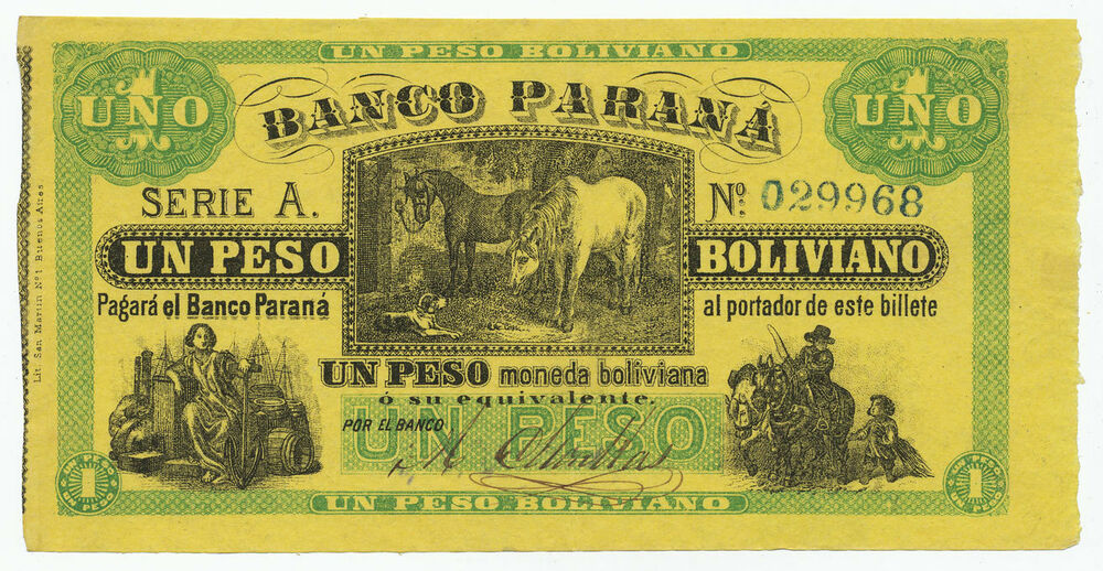 Details About Argentina 1 Peso Boliviano 1868 Ps1815 Ag020