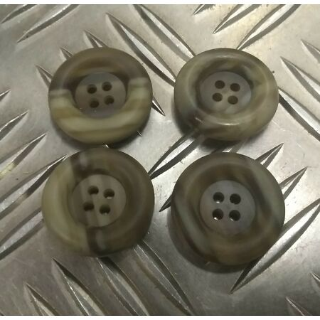 img-Genuine Vintage Military Issue 4 Hole Plastic Coat Buttons Mottled X4 25mm