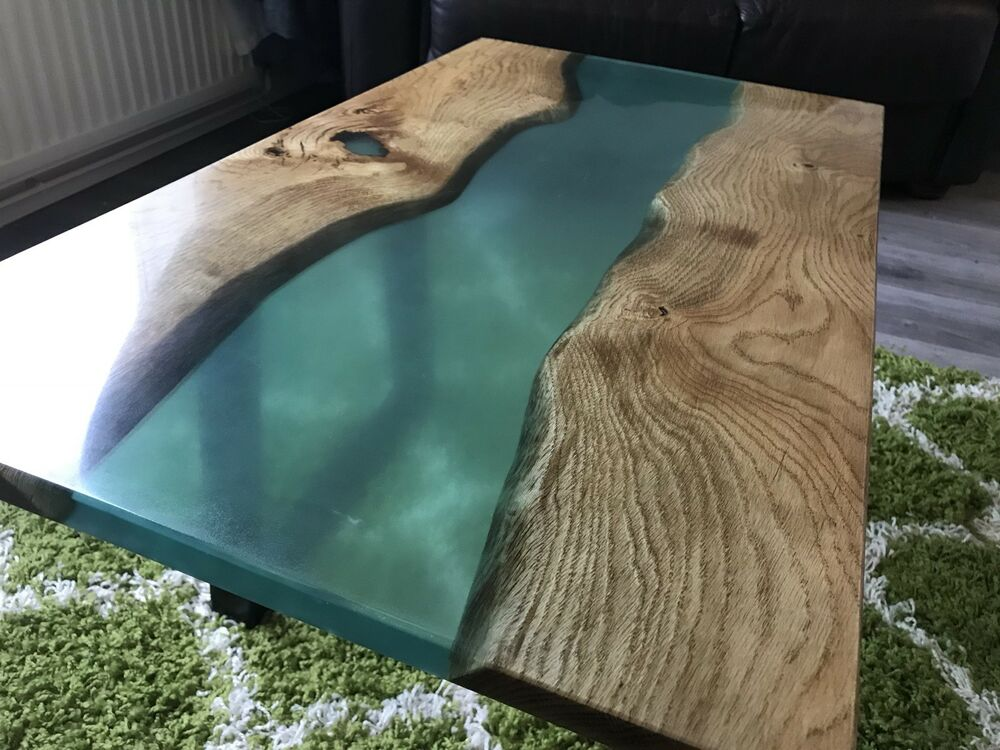 Ready To Ship Live Edge Oak Amp Epoxy Resin River Coffee