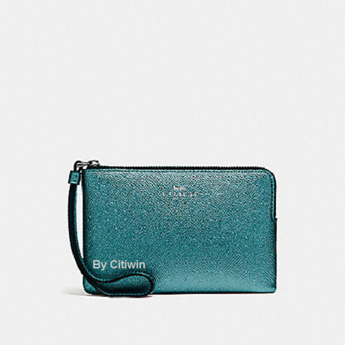 c8d543536cfb Details about New Authentic Coach F21070 Metallic Crossgrain Leather Corner  Zip Wristlet Teal