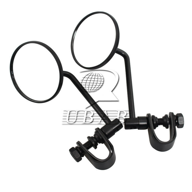 Adjustable Black Rearview Round Mirrors 25mm Adapter Clamp For