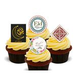 Happy Eid Mubarak Edible Stand-up Fairy Cup Cake Toppers, Islam Muslim Festival