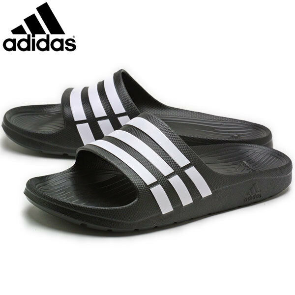 1b9180658ad2 Details about Mens Adidas Duramo Sliders Flip Flops Sandals Slip On Shoes  Black -G15890