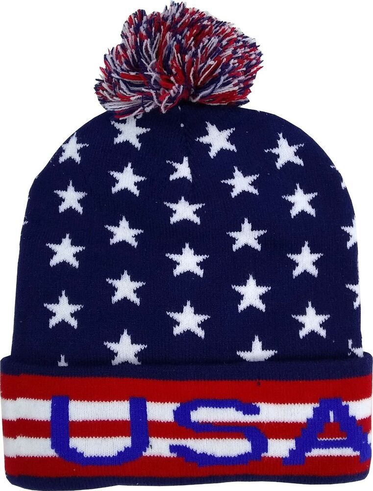 Details about USA Soccer Winter Hats W  Pom Navy Unisex World Cup USA  Olympics e080888f5267