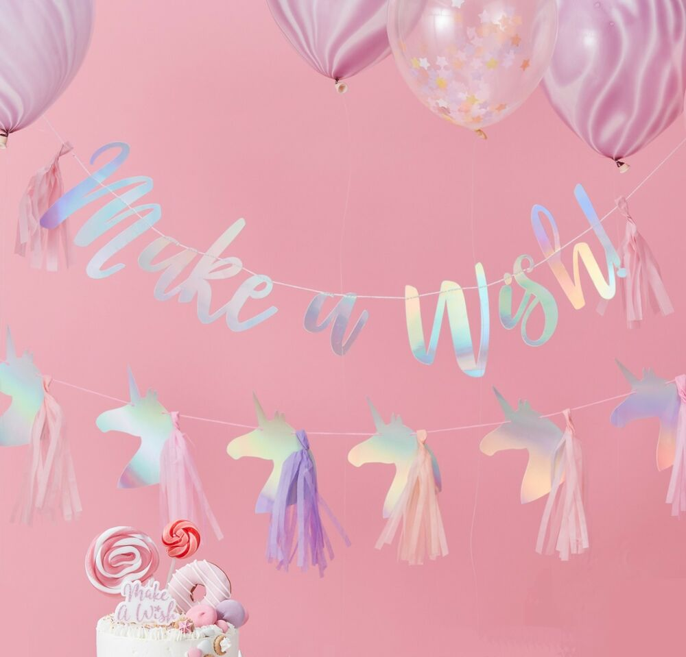 UNICORN PARTY GARLANDS - Iridescent Bunting Banners - Birthday Party ...