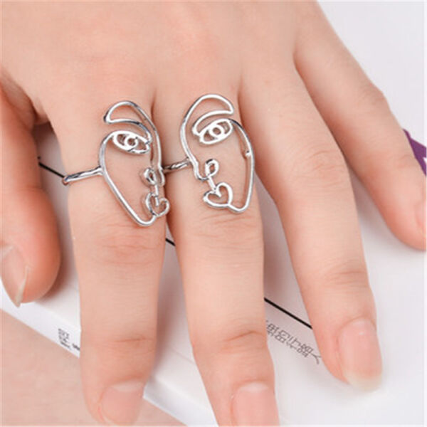 Abstract Geometric Finger Alloy Face National Rings Jewelry Personality Totem