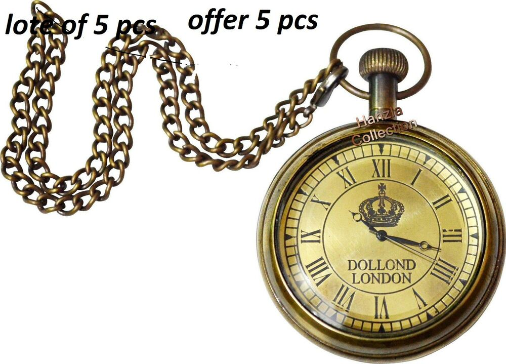 Details about Vintage Antique/Retro-Style Brass Finish Dollond London Pocket  watch With Chain