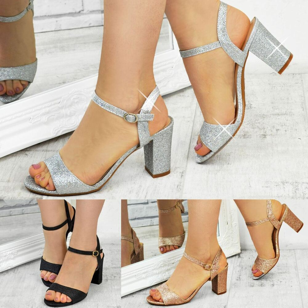 low heeled wedding shoes womens low block heel bridal glitter sandals 5619