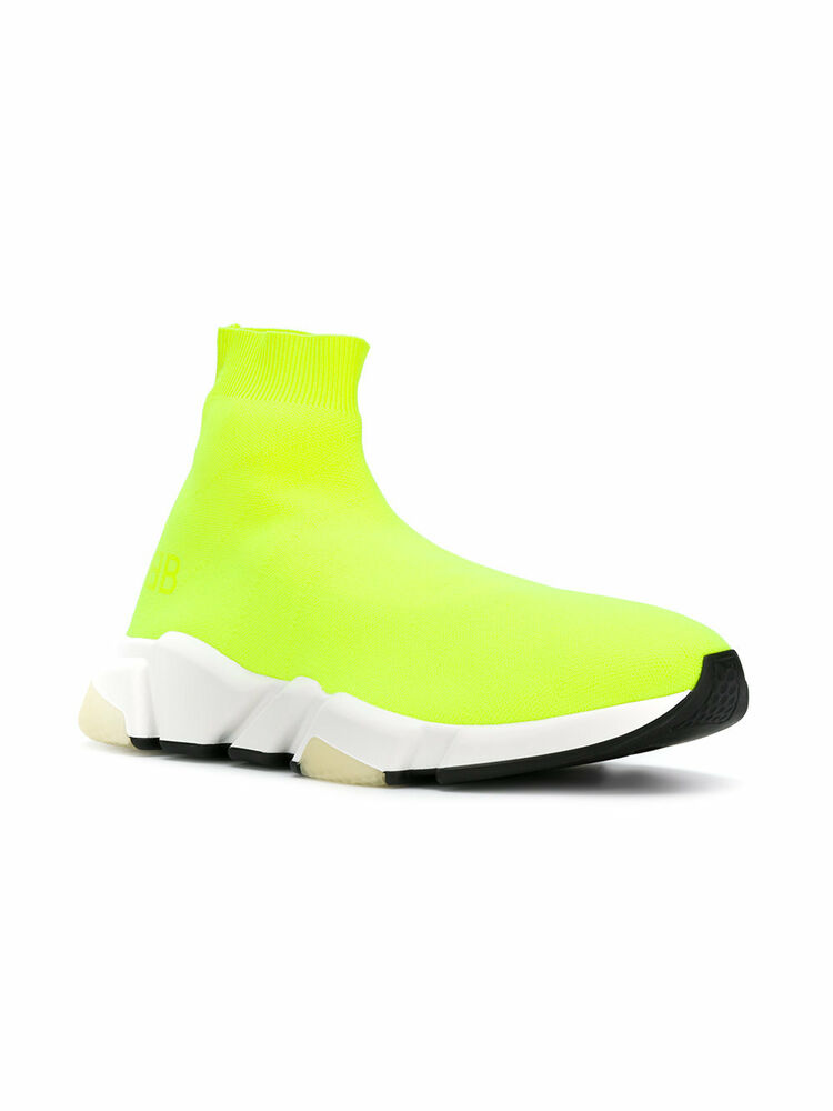 bf32c9365df5 Details about Balenciaga Speed Sock Low Men s Trainers Yellow Fluo