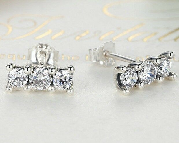bc9529c61 Solid 925 Sterling Silver Delicate Sparkling Elegance Stud Earrings + gift  Box   eBay