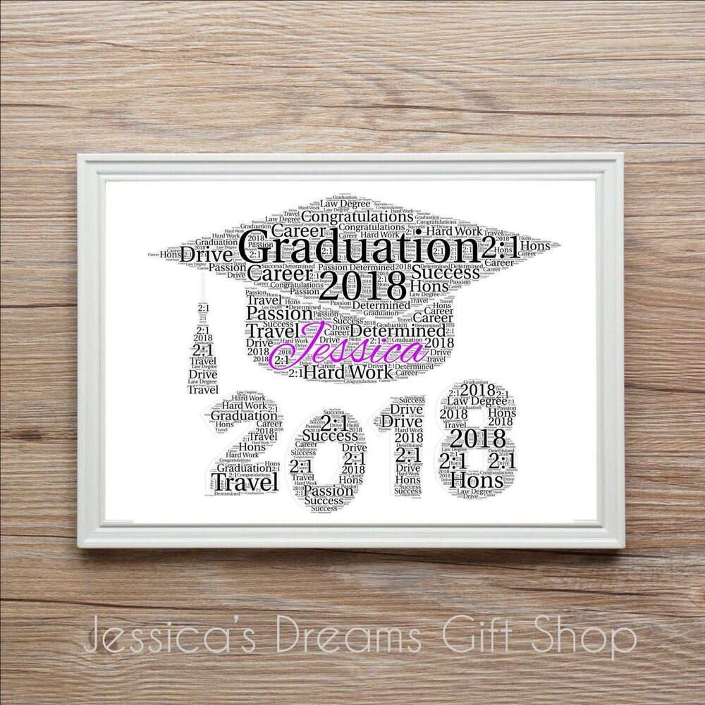 New Graduation Class 2018 Word Art Print Gift Present PERSONALISED ...