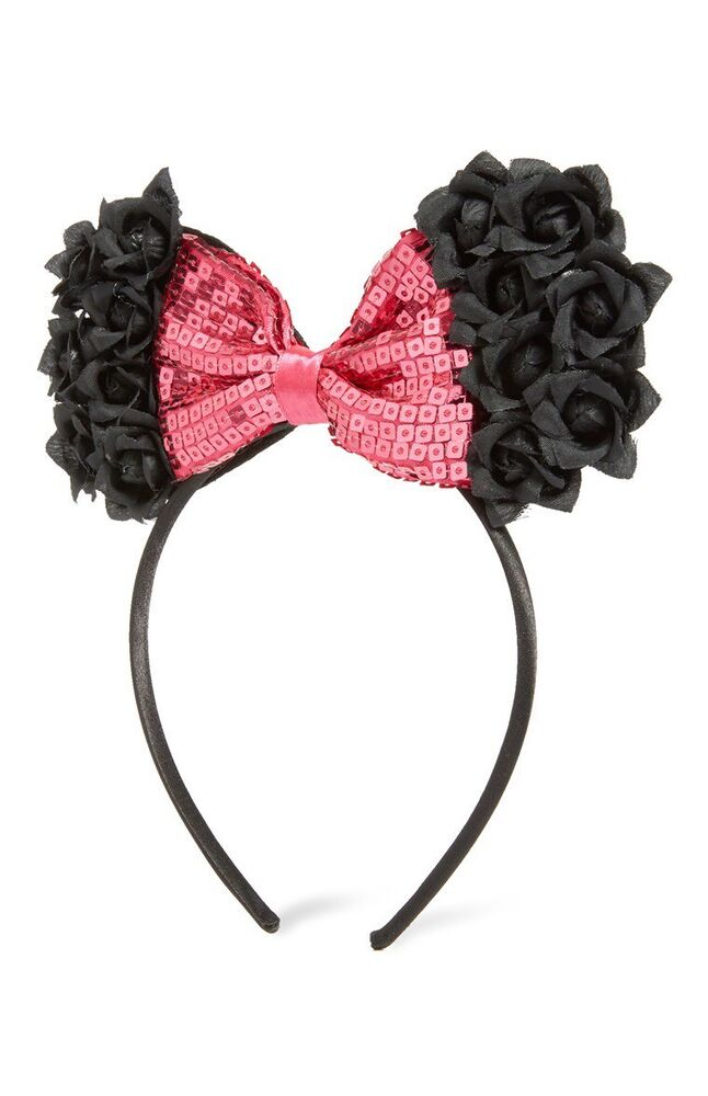 228de8059a8 Details about MINNIE MOUSE Bow DISNEY Ears Headband Primark Licensed Girls  Black   Pink Sequin