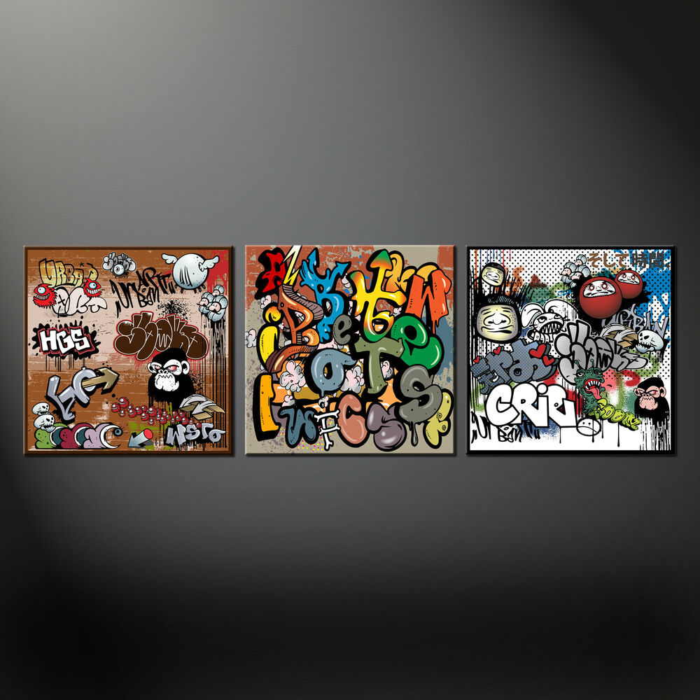 Details about set of three graffiti canvas print picture wall art free fast uk delivery