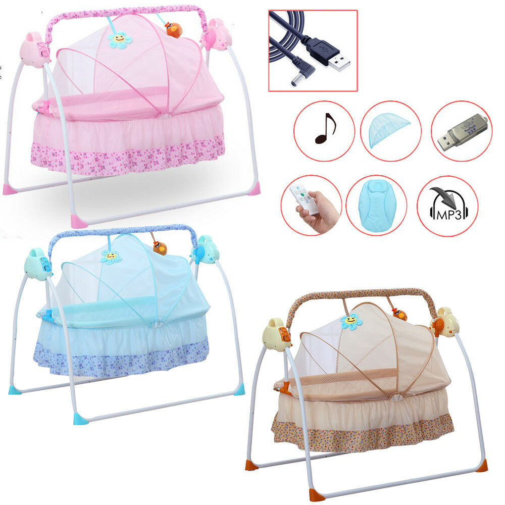 aaa33e4003077 Details about Auto Swing Rocker Cot Baby Infant Sleeping Bed Cradle Big  Space Electric Crib US