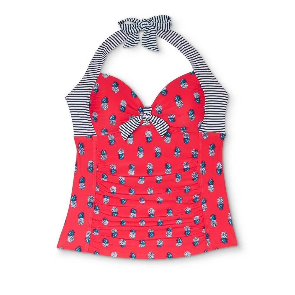 e12fea41cd Details about Merona Red Pineapple Halter Shirred Tankini Top Swimwear  Women's S,M #1576