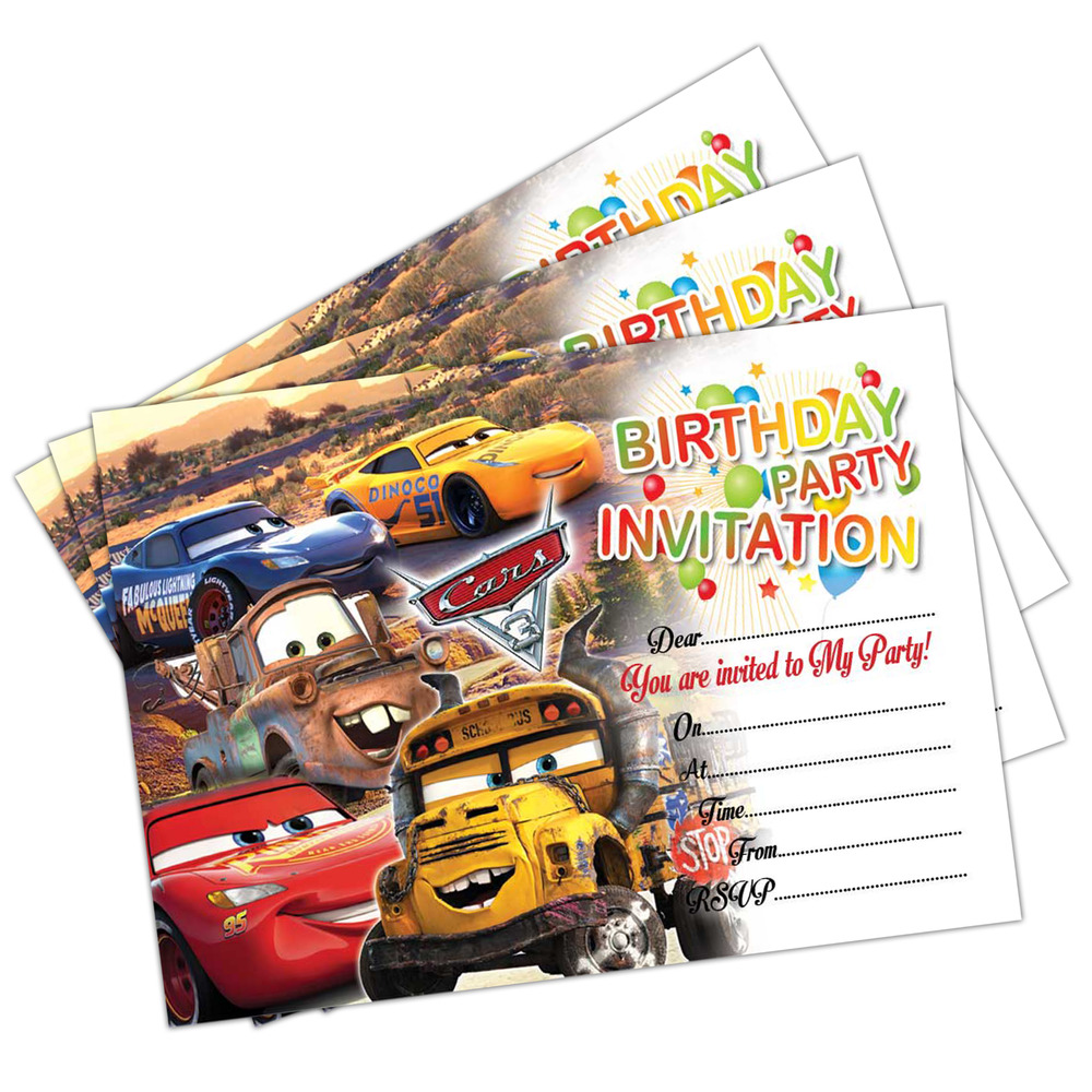 Details About Disney Cars 3 Birthday Party Invitations