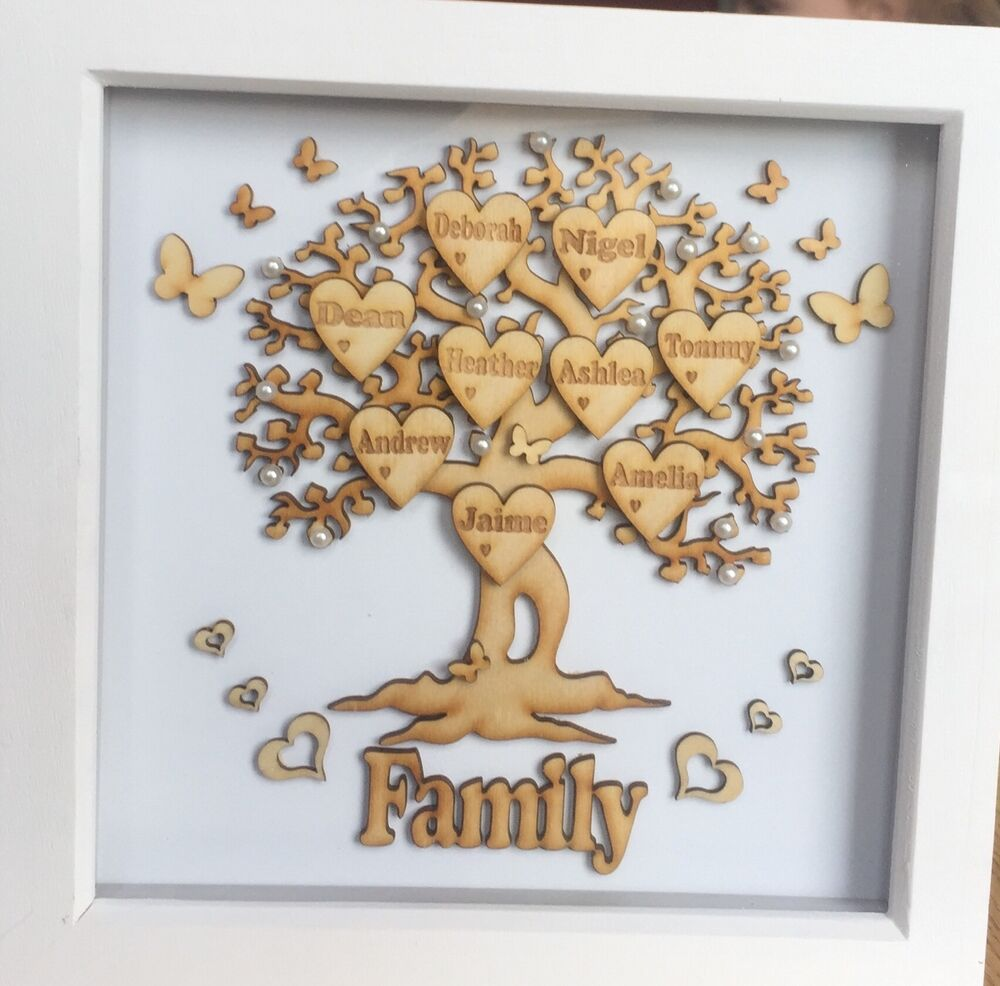 Wallverbs Family Tree Personalized Picture Frame Set: Personalized Family Tree Box Frame Anniversary Wedding