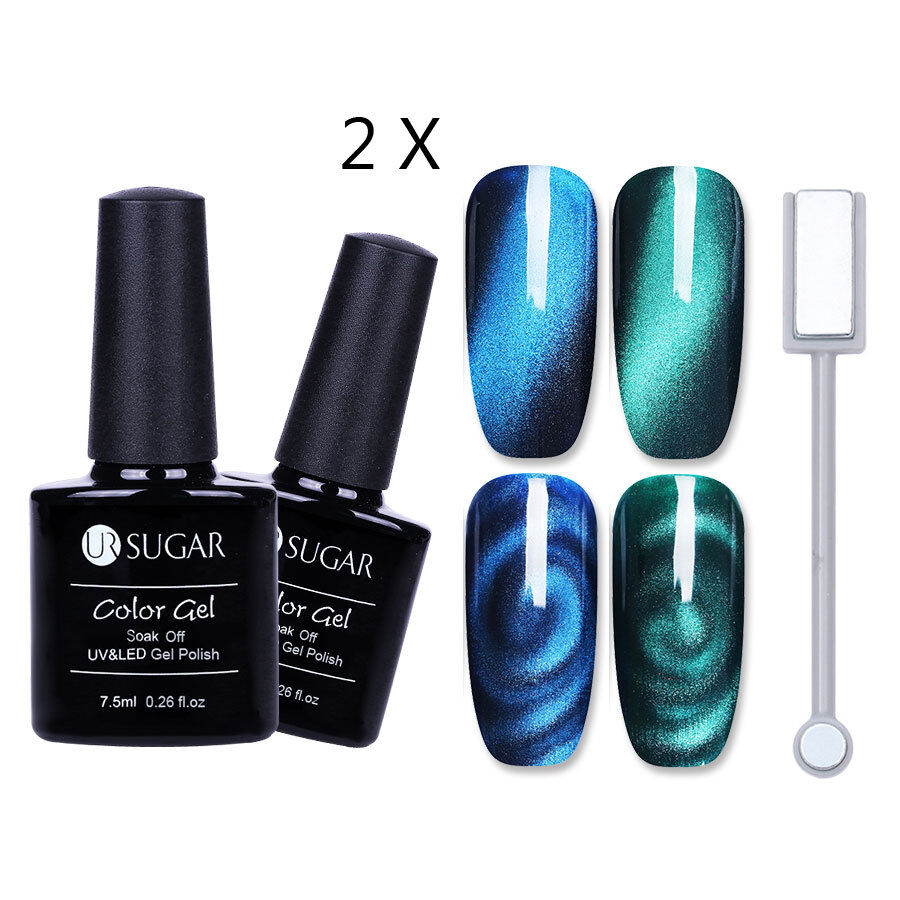3PCS/Set Magnetic Gel Nail Polish Shiny Blue Green UV Gel Magnet ...