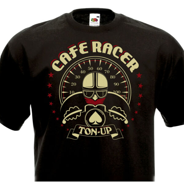 Tee Shirt CAFE RACER TON-UP - Vintage Motorcycle Biker Norton Triumph BSA Triton