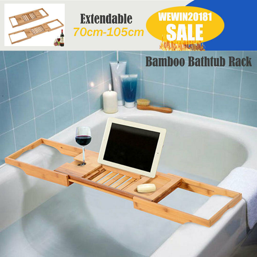 70-105CM WOODEN BAMBOO BATHTUB STORAGE RACK CADDY SHELF TIDY TUB ...