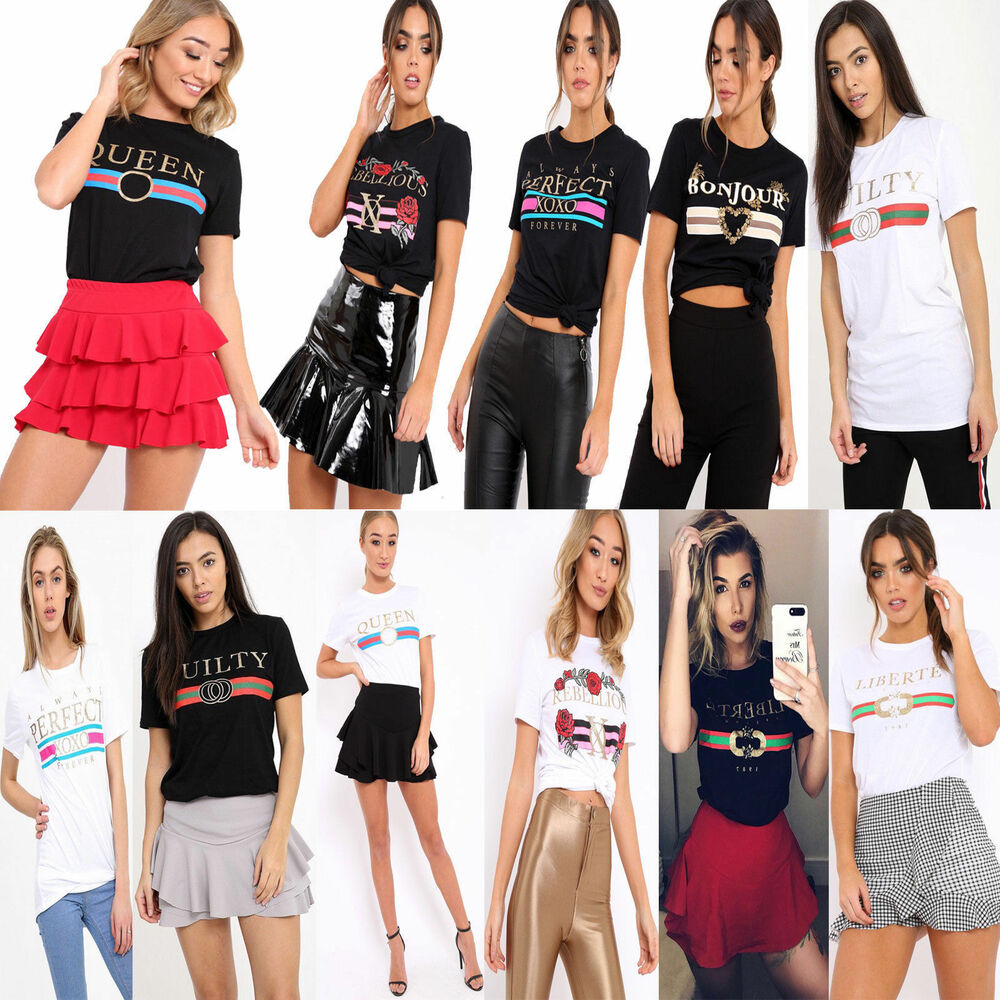 a0a1e7cf Details about Womens Ladies Celeb Designer Inspired Casual Loose Top T-Shirt  Slogan Stripe Tee. GUILTY LIBERTE QUEEN BONJOUR ...