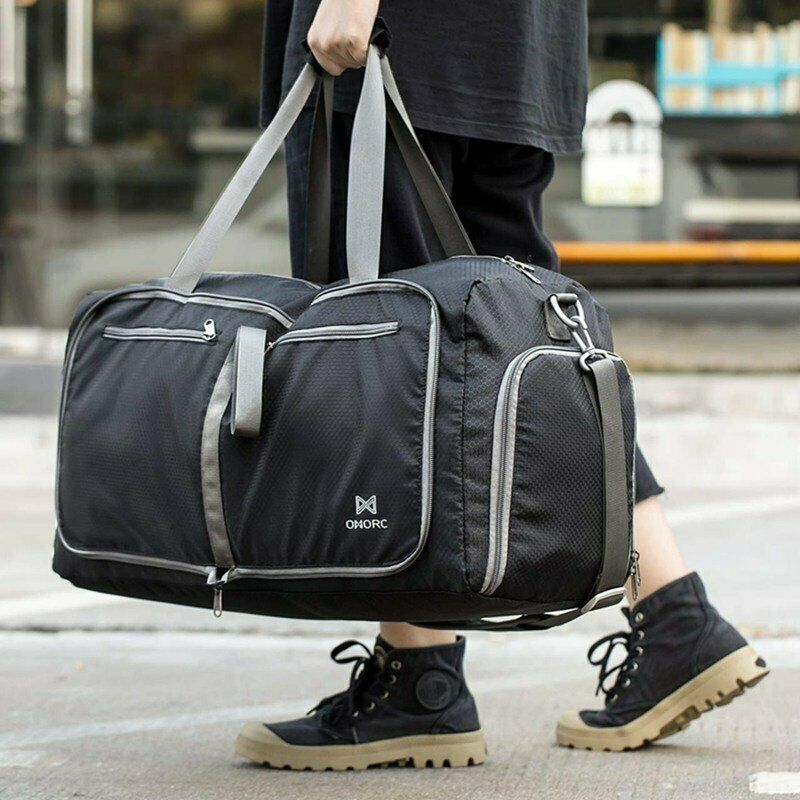 Details about 60L Travel Duffel Bag Large Foldable Sports Gym Duffle Big Bag  Waterproof Black 4212a6f5a6307