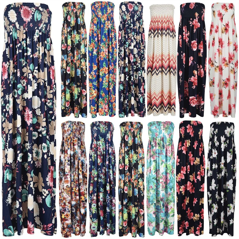 9dae5851cc Details about Womens Ruched Floral Print Boobtube Strapless Ruched Gypsy  Swing Maxi Dress
