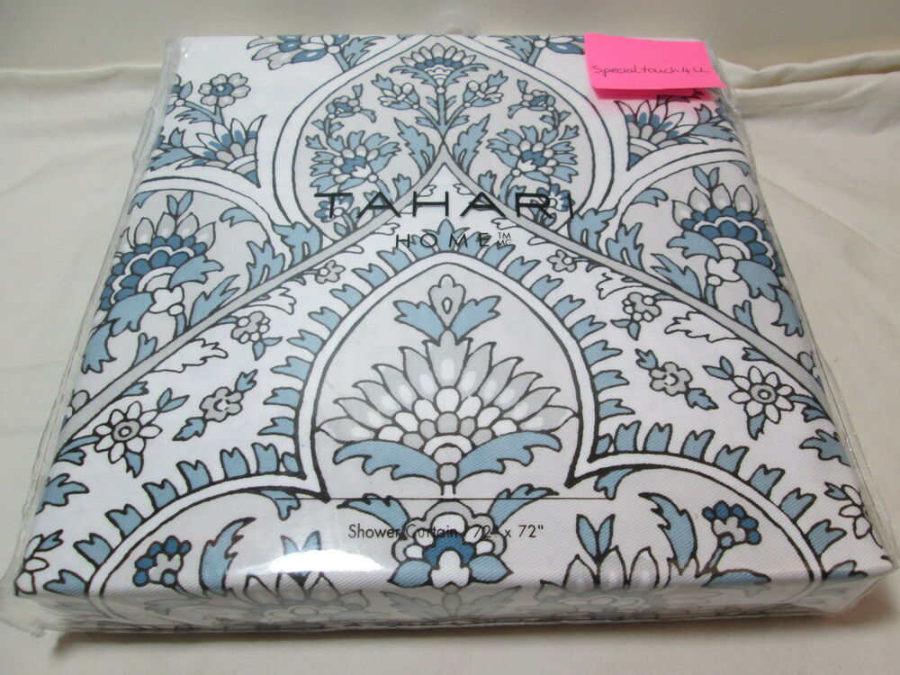 """New Tahari Floral Paisley Shower Curtain 72x72"""" NEW PATNA ~ Blue, Grey And White"""