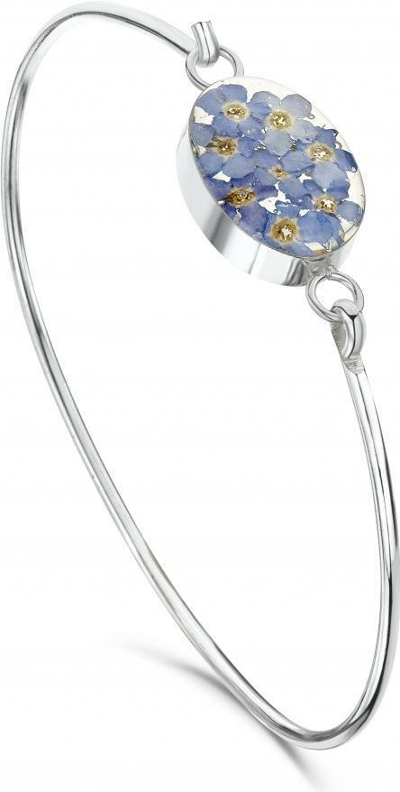 40a00ae0d Silver Bangle - Forget-me-not - Oval 5060409420408 | eBay