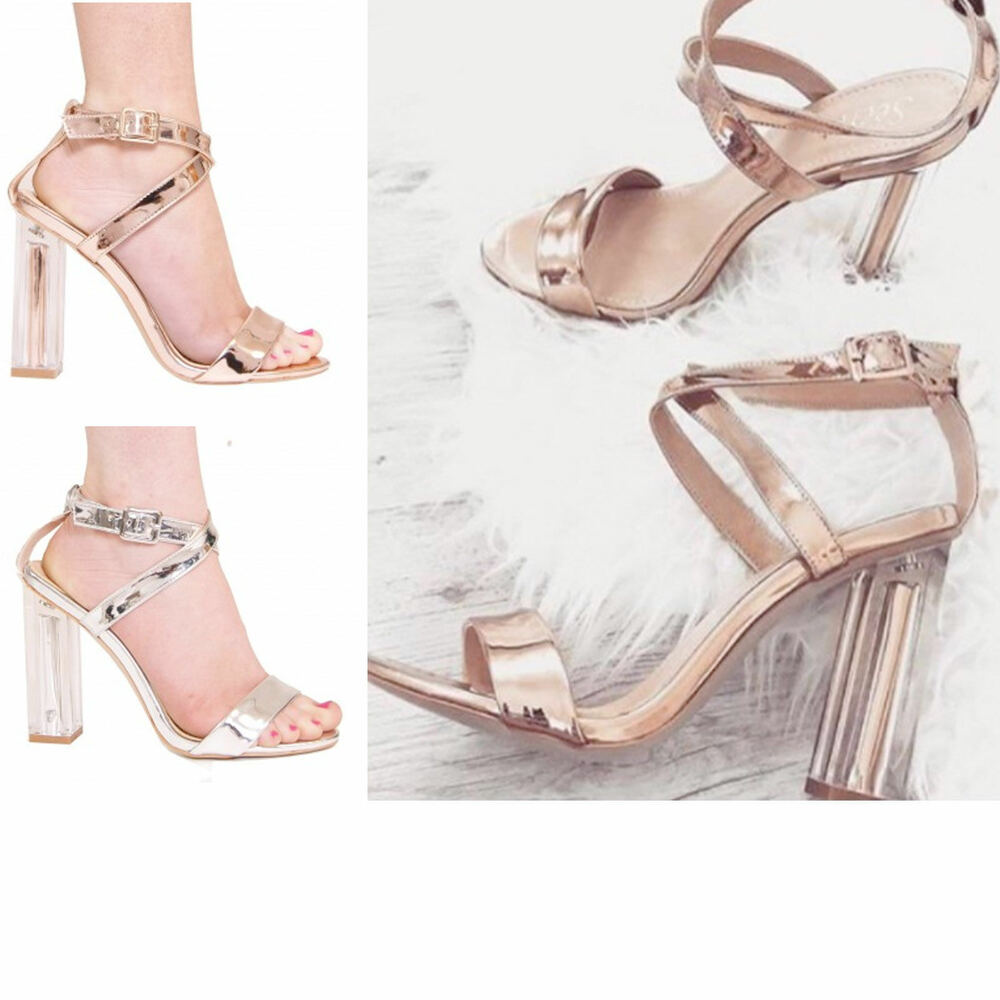 b428cd01528 Details about Ladies Womens Clear High Heels Ankle Strap Open Toe Strappy Sandal  Shoe Size 3-8