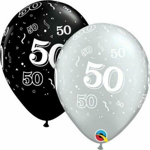 Details About Qualatex 50th Birthday Helium Balloons Age 50 Black Silver Party Decorations