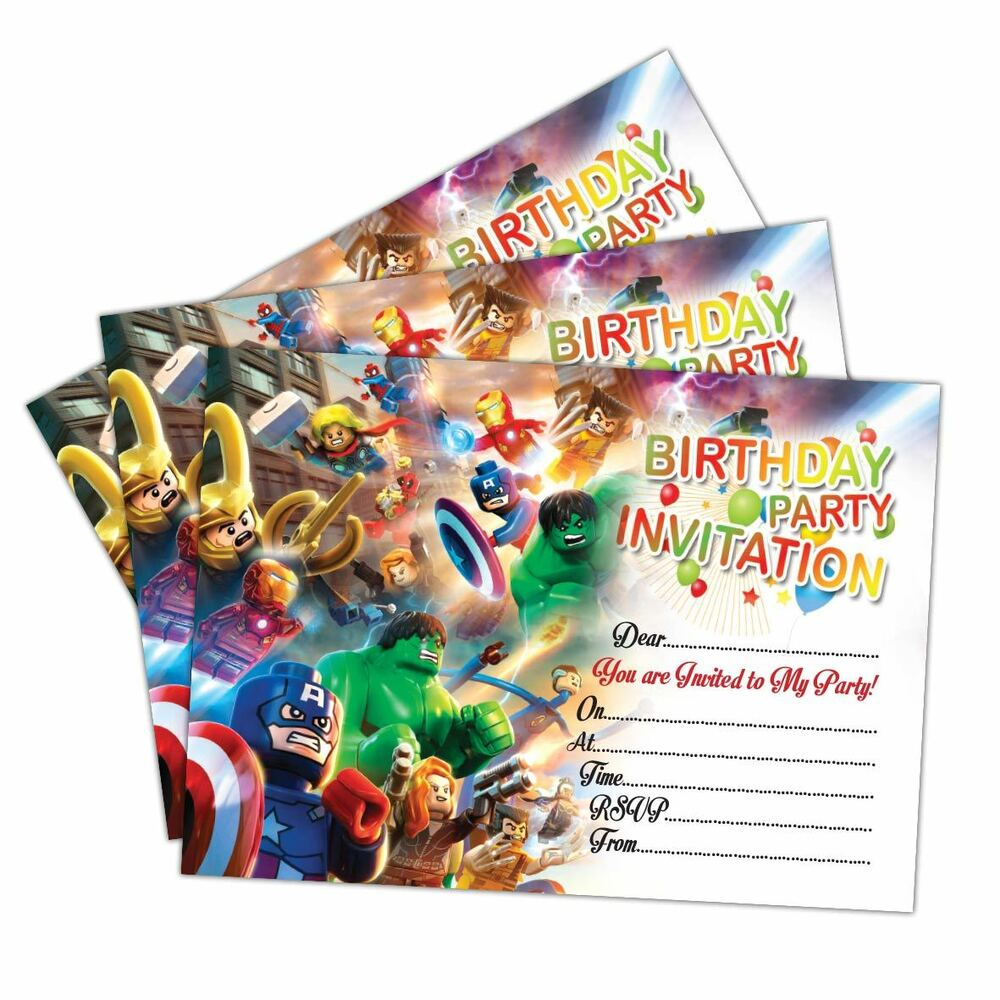 Details About Lego Marvel Super Heroes Birthday Party Invitations Invites Kids Girls Boys