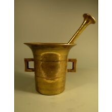 Heavy Brass Mortar And Pestle Pharmaceutical Use Apothecary ca. 19th Century