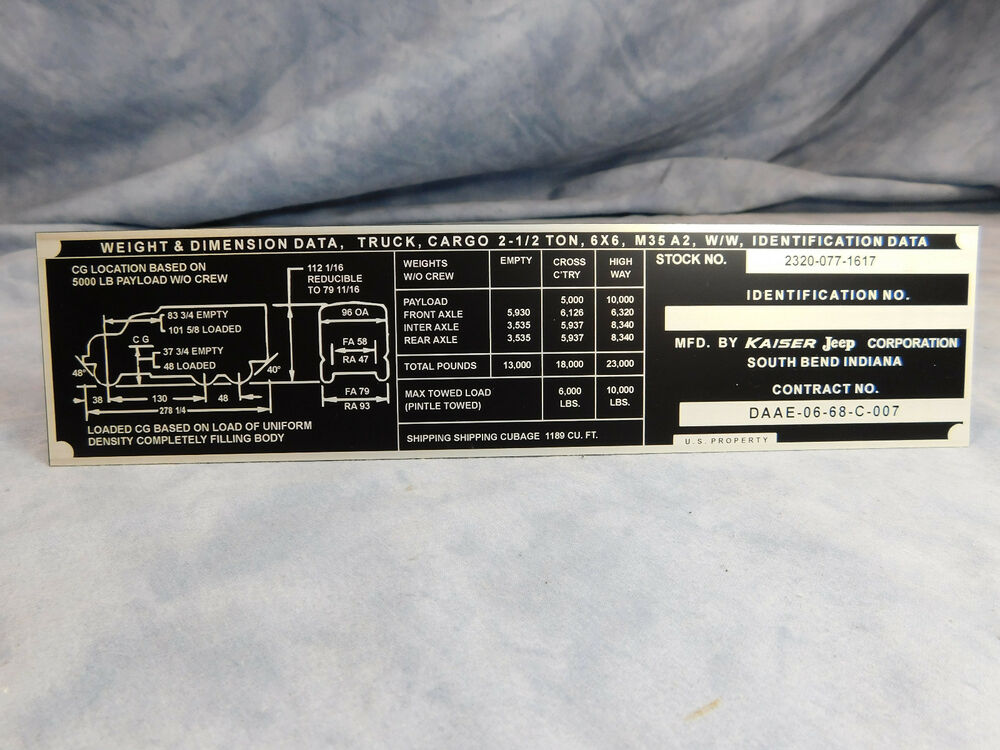 M35a2 Data Plate Kaiser Jeep M35a2 Ww Wieght And Dimension Data