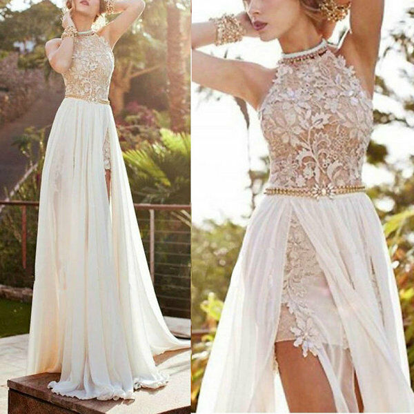 Hot Ladies Lace Floral Long Chiffon Dress Wedding Party Beach ...