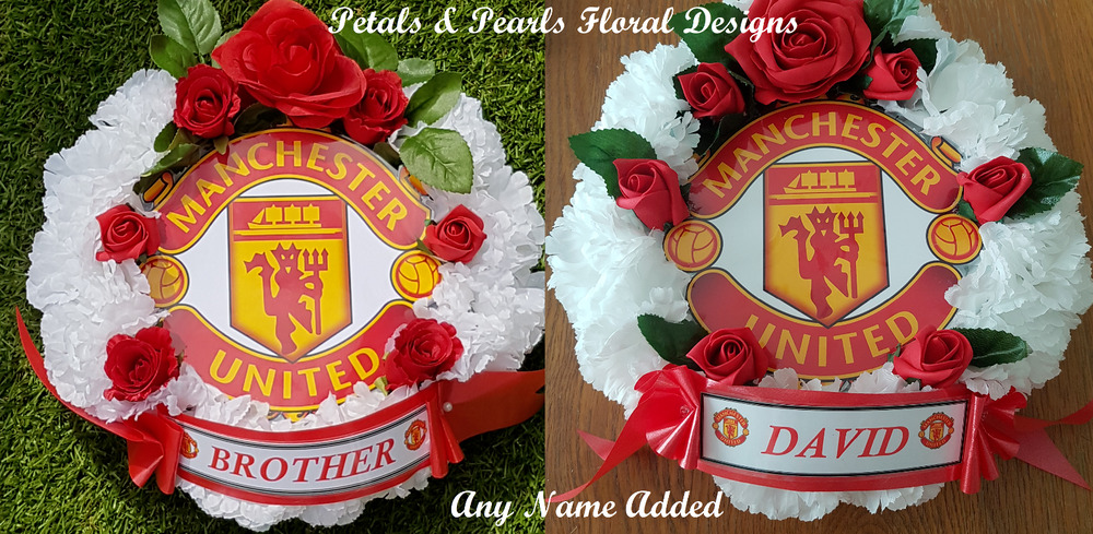 Manchester United Football Artificial Wreath Funeral Flowers Tribute