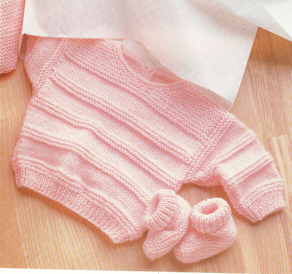 Knitting Pattern Baby Girl Boy Sweater And Shoes In Dk Wool Fits 3