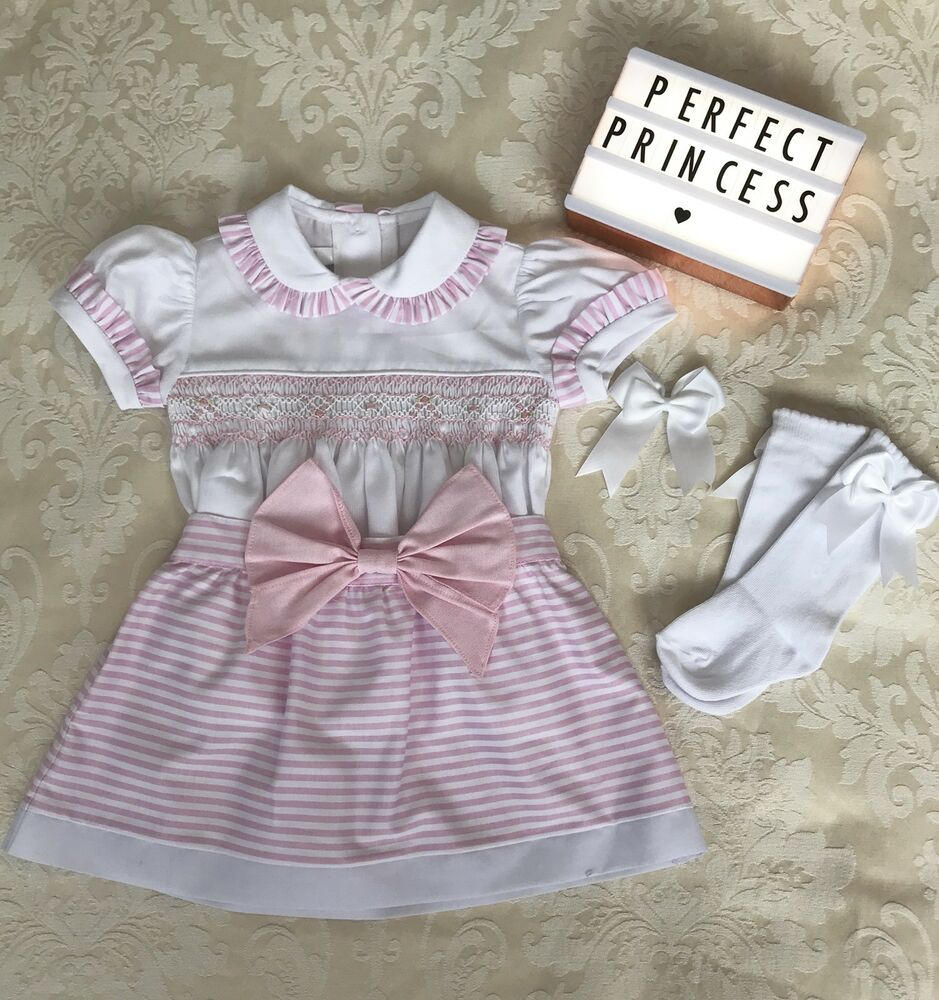 d92e2f16b0b Details about Hand Smocked Pex Pink and White Two Piece Spanish Set Knee  High Socks