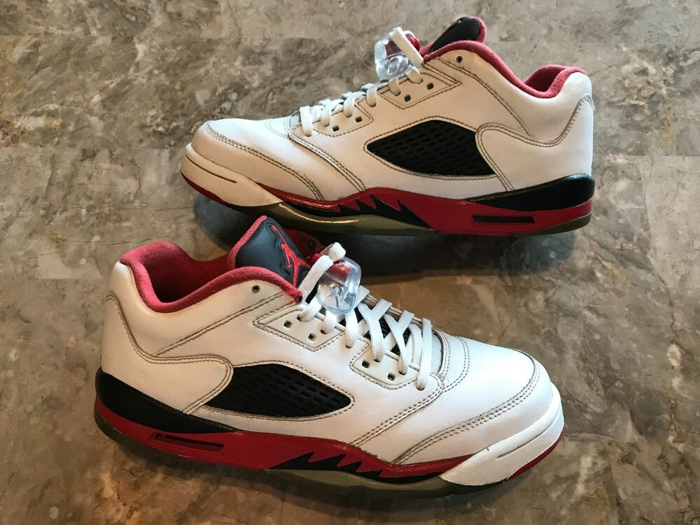 competitive price f5960 710bf Details about 2016 Nike Air Jordan 5 V Retro Low GS Fire Red White Black  Size 7Y (314338-101)