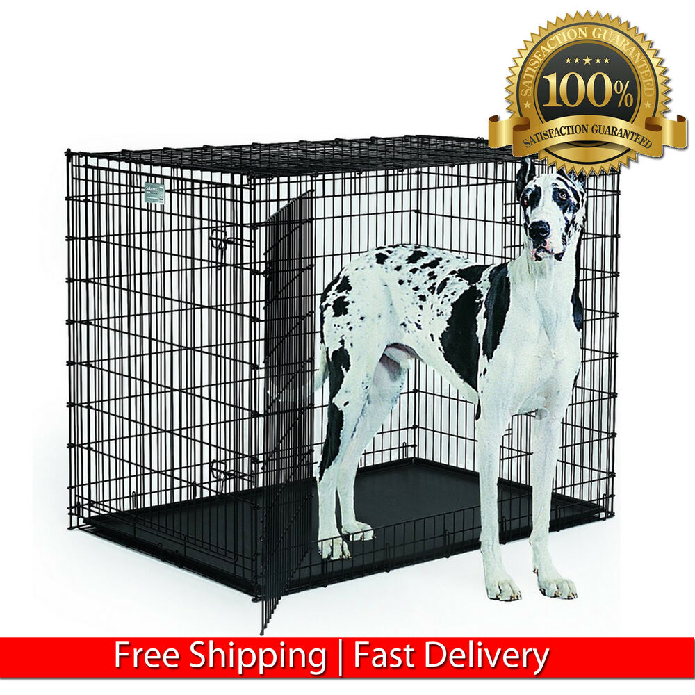 Xxl Dog Kennel Crate 48 Foldable Cage Pan Extra Large Pet Indoor