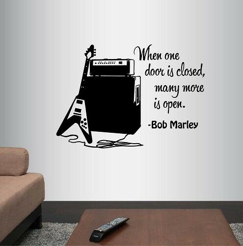 Vinyl Decal When One Door Is Closed Bob Marley Quote Music