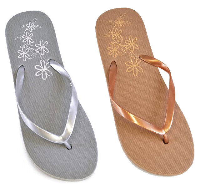 1aaa3f8eb394 Details about LADIES WOMENS GIRLS METALLIC BEACH FLIP FLOPS JELLY FLIPFLOPS SANDALS  SHOES