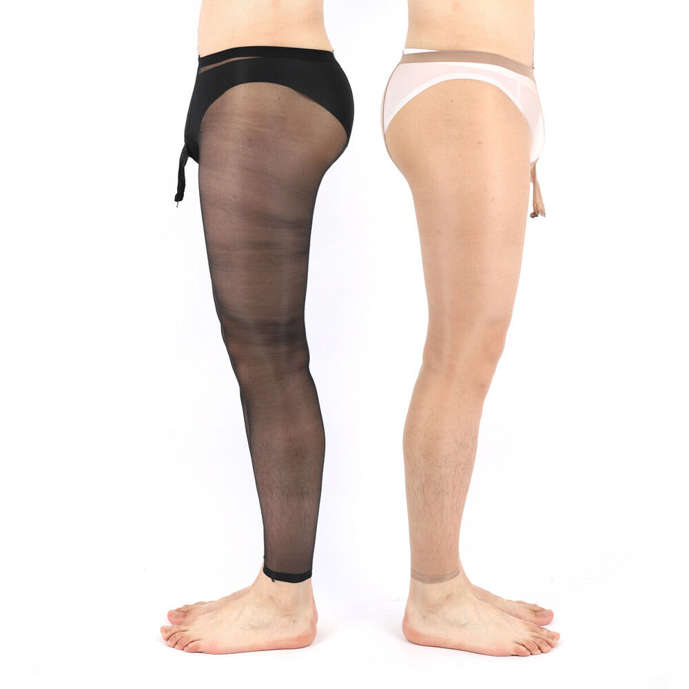 42bf7c3131d66 ElsaYX Men Sheer Footless Pantyhose Long Sheath Open | eBay