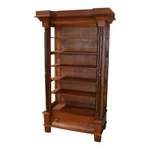 Mahogany Empire Style Open Bookcase w/Black Highlights and Drawer